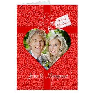 Tarjeta Nuestro primer navidad para la esposa con la foto