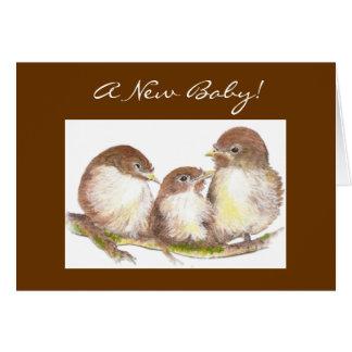 Tarjeta Nuevo bebé, enhorabuena, pájaros lindos