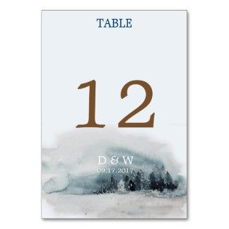 Tarjeta Número azul de la tabla del boda del país de las