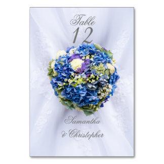 Tarjeta Número azul y blanco de la tabla de la flor del
