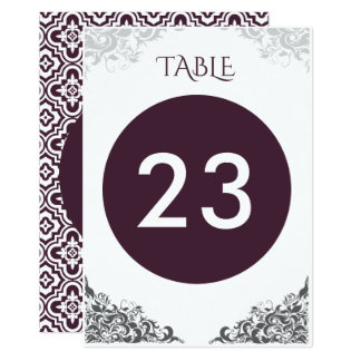 Tarjeta Número barroco de la tabla del boda de la lámpara