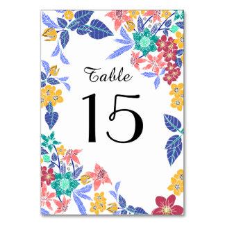 Tarjeta Número brillante bonito floral tropical de la