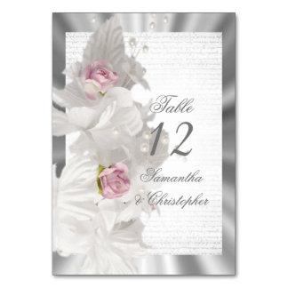 Tarjeta Número color de rosa floral blanco de la tabla del