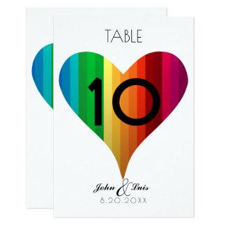 Tarjeta Número de la tabla del boda del corazón del arco