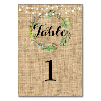 Tarjeta Número de la tabla que casa la guirnalda floral