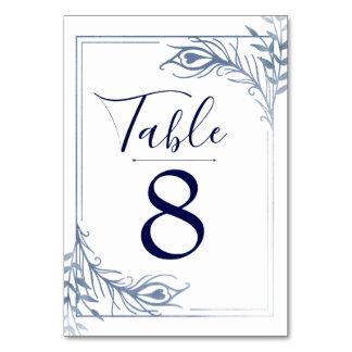 Tarjeta Número de plata de la tabla del boda de la pluma