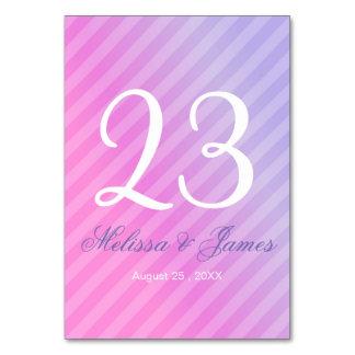 Tarjeta Número elegante de la tabla de la lila del rosa en
