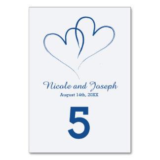Tarjeta Número entrelazado dos corazones de la tabla -
