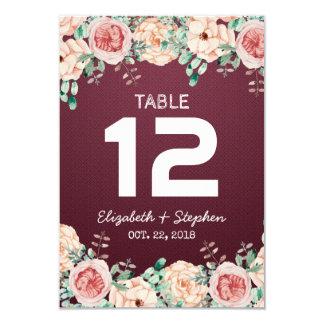 Tarjeta Número floral/acompañamiento de la tabla del lugar