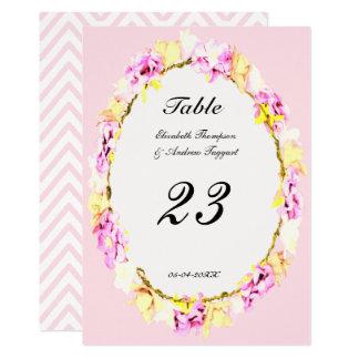 Tarjeta número floral de la tabla de la flor suave