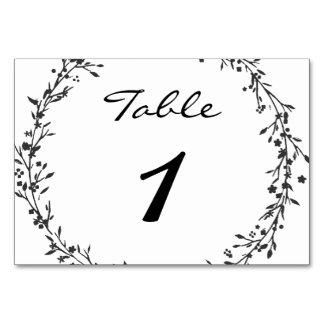 Tarjeta Número floral de la tabla del boda de la guirnalda