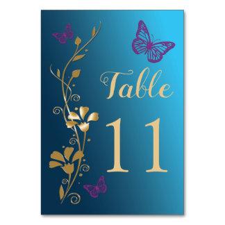 Tarjeta Número floral púrpura de la tabla de mariposas del