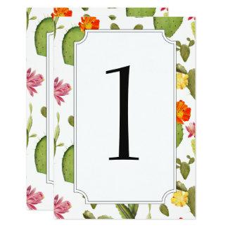 Tarjeta Número floreciente de la tabla del boda del cactus