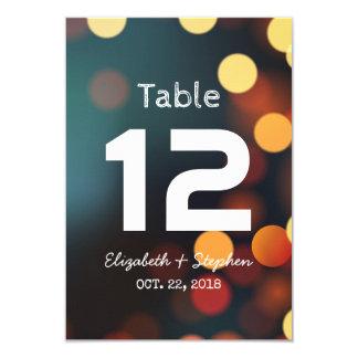 Tarjeta Número ligero de la tabla del asiento del boda de