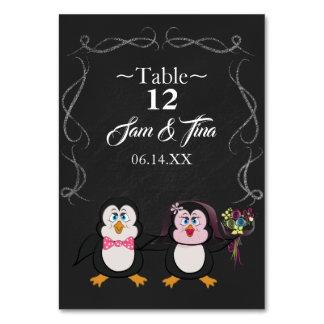 Tarjeta número lindo de la tabla del boda del pingüino