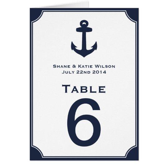 Tarjeta Número náutico de la tabla del boda del ancla de