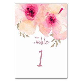 Tarjeta Número pintado a mano rosado de la tabla del Peony