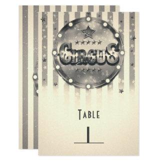 Tarjeta Número rayado circo de la tabla del fiesta de las