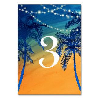 Tarjeta Número tropical azul y anaranjado del trullo de la