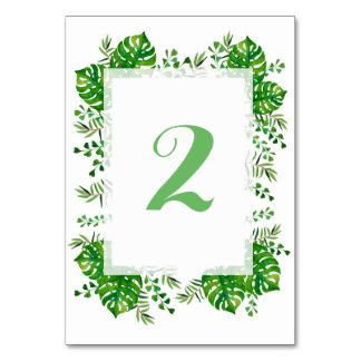 Tarjeta Número tropical de la tabla del boda de la