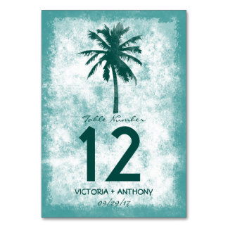 Tarjeta Número tropical de la tabla del boda de playa de