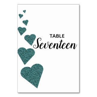 Tarjeta Número verde azulado de la tabla de los corazones