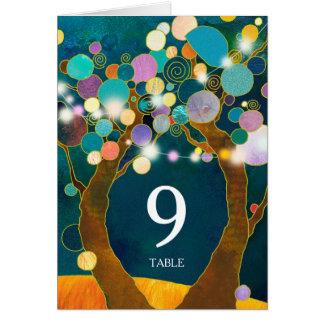 Tarjeta Número verde azulado de la tabla del boda de los