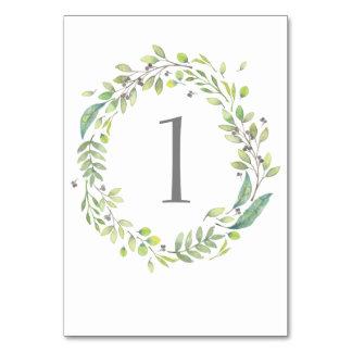 Tarjeta Número verde de la tabla del boda de la acuarela