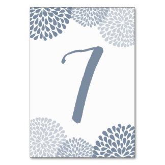 Tarjeta Números de la tabla - crisantemo (azul