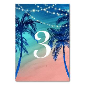 Tarjeta Números de la tabla de la palmera del azul y del