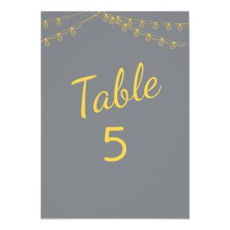 Tarjeta Números de la tabla en amarillo y gris con las