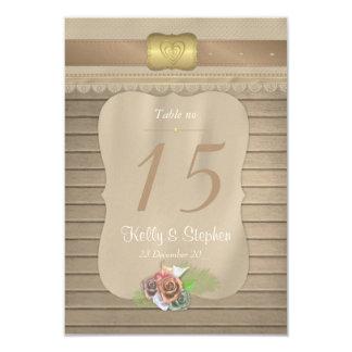 Tarjeta Números de madera rústicos de la tabla del boda de