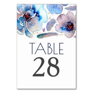 Tarjeta Números florales azules de la tabla del boda de la