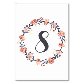 Tarjeta Números florales de la tabla de la acuarela