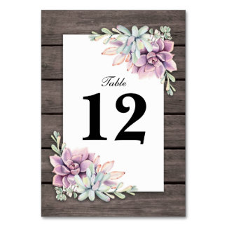 Tarjeta Números florales suculentos rústicos de la tabla