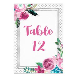 Tarjeta Números florales y grises rosados elegantes de la