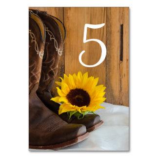 Tarjeta Números occidentales de la tabla del boda del