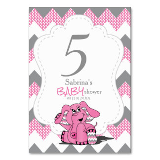 Tarjeta Números rosados y grises de la tabla del elefante
