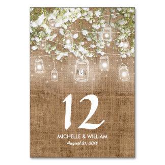Tarjeta Números rústicos de la tabla del boda de la