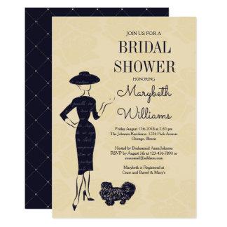 Tarjeta nupcial de la ducha del vintage de la moda