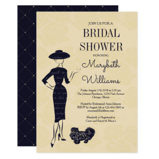 Tarjeta nupcial de la ducha del vintage de la moda invitación 12,7 x 17,8 cm