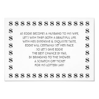 Tarjeta nupcial de la lotería de la ducha para el invitación 8,9 x 12,7 cm