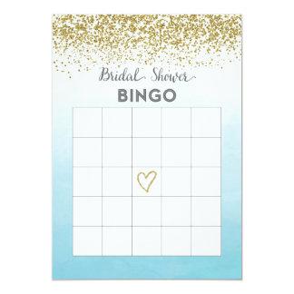 Tarjeta nupcial del bingo de la ducha del azul y invitación 12,7 x 17,8 cm