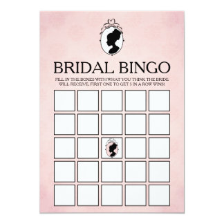 Tarjeta nupcial del bingo de la ducha del camafeo