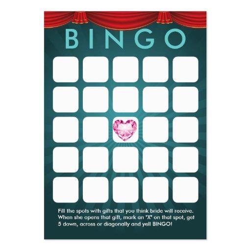 Tarjeta nupcial del bingo de la ducha del corazón  tarjetas de negocios