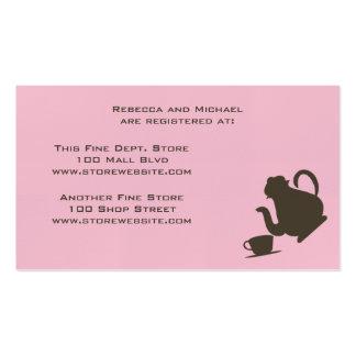 Tarjeta nupcial del registro de la ducha tarjetas de visita
