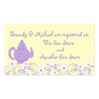 Tarjeta nupcial del registro de la fiesta del té tarjetas de negocios