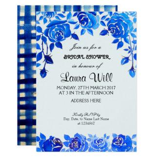 Tarjeta nupcial floral de la ducha de los azules invitación 12,7 x 17,8 cm