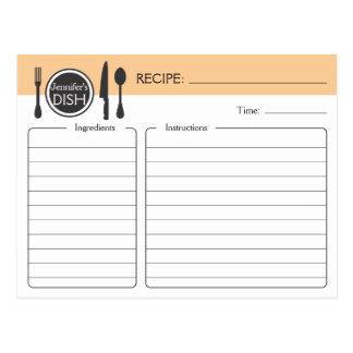 Tarjeta nupcial personalizada de la receta de la