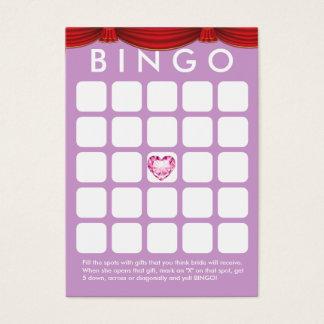 Tarjeta nupcial púrpura del bingo de la ducha del